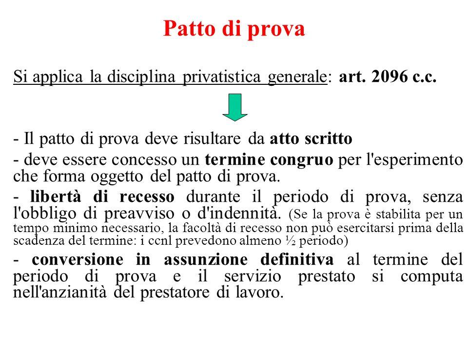 Patto di prova Si applica la disciplina privatistica generale: art. 2096 c.c. - Il patto di prova deve risultare da atto scritto - deve essere concess