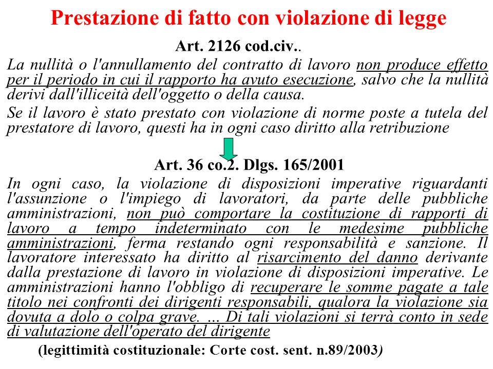 Prestazione di fatto con violazione di legge Art. 2126 cod.civ.. La nullità o l'annullamento del contratto di lavoro non produce effetto per il period