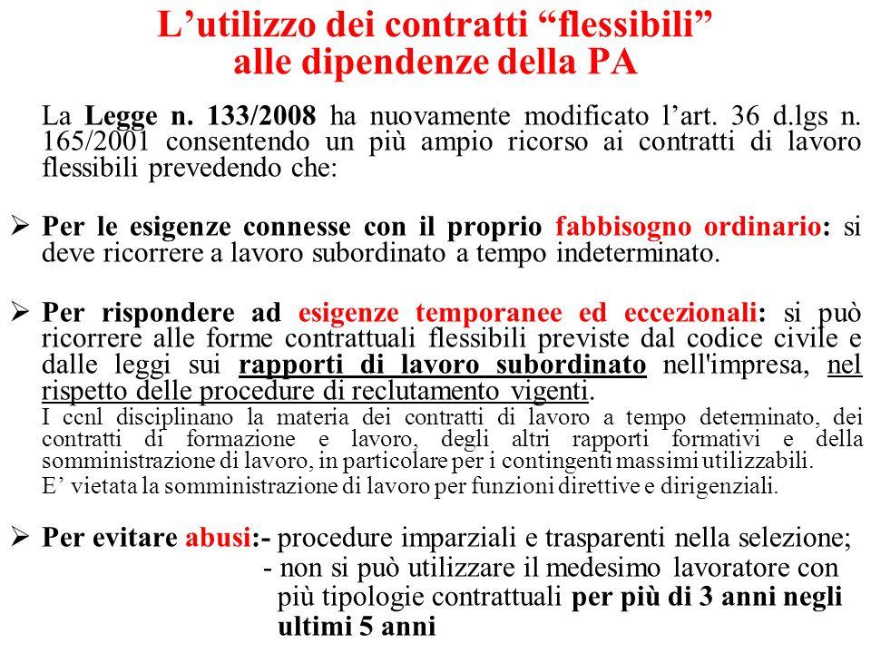 Lutilizzo dei contratti flessibili alle dipendenze della PA La Legge n. 133/2008 ha nuovamente modificato lart. 36 d.lgs n. 165/2001 consentendo un pi