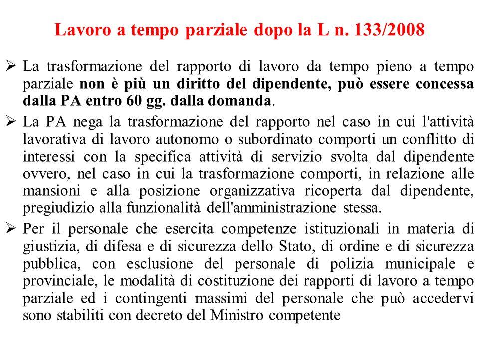Lavoro a tempo parziale dopo la L n. 133/2008 La trasformazione del rapporto di lavoro da tempo pieno a tempo parziale non è più un diritto del dipend