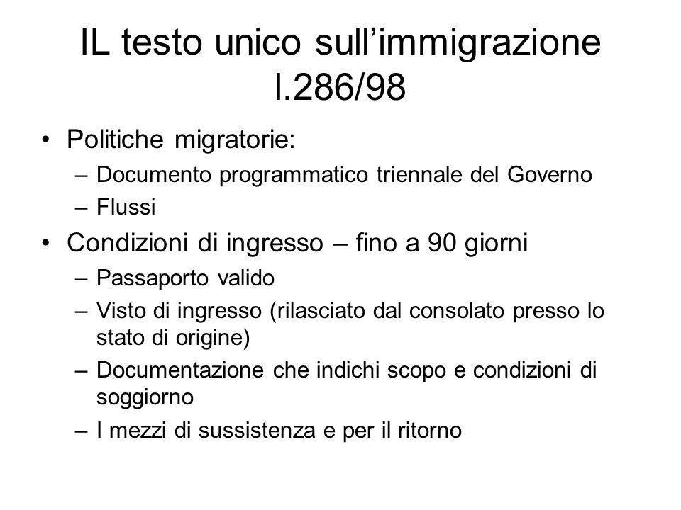 IL testo unico sullimmigrazione l.286/98 Politiche migratorie: –Documento programmatico triennale del Governo –Flussi Condizioni di ingresso – fino a