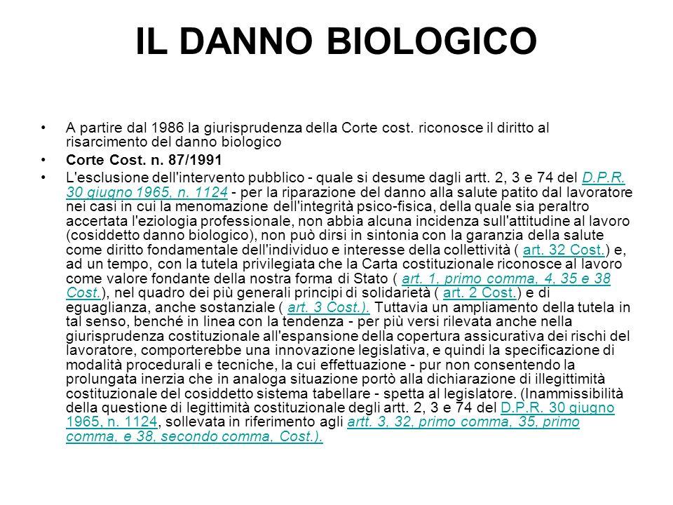 IL DANNO BIOLOGICO A partire dal 1986 la giurisprudenza della Corte cost. riconosce il diritto al risarcimento del danno biologico Corte Cost. n. 87/1