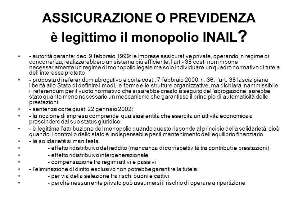 ASSICURAZIONE O PREVIDENZA è legittimo il monopolio INAIL ? - autorità garante: dec. 9 febbraio 1999: le imprese assicurative private, operando in reg