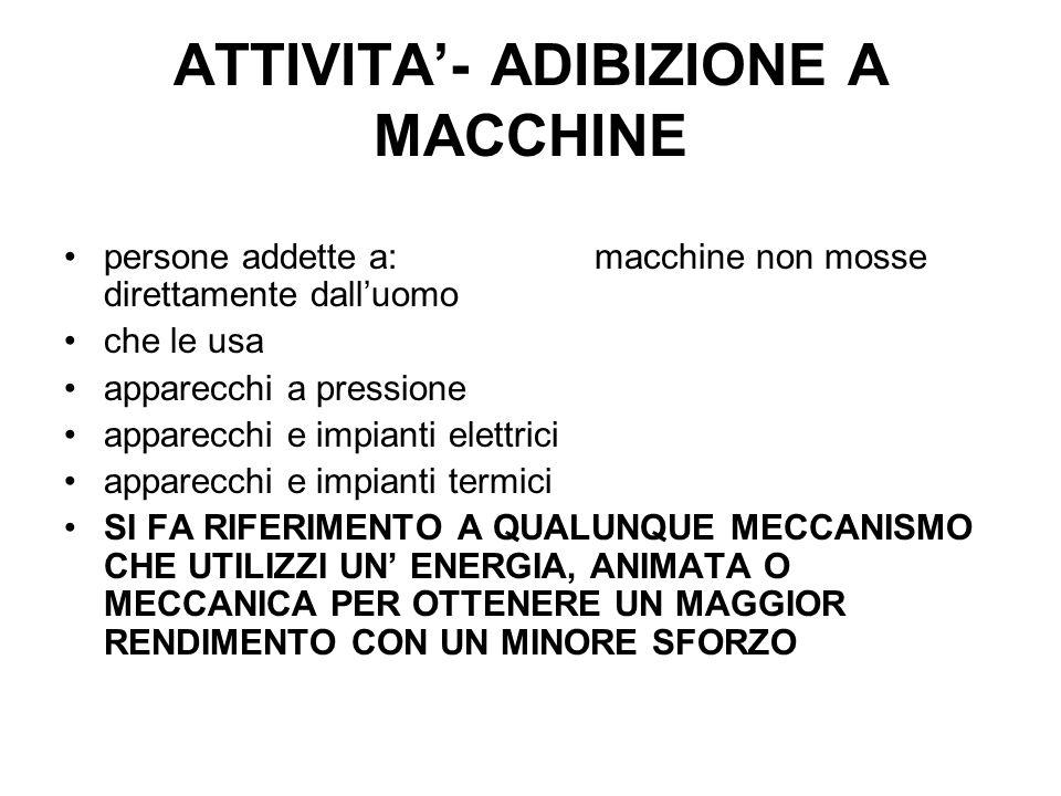 ATTIVITA- ADIBIZIONE A MACCHINE persone addette a:macchine non mosse direttamente dalluomo che le usa apparecchi a pressione apparecchi e impianti ele