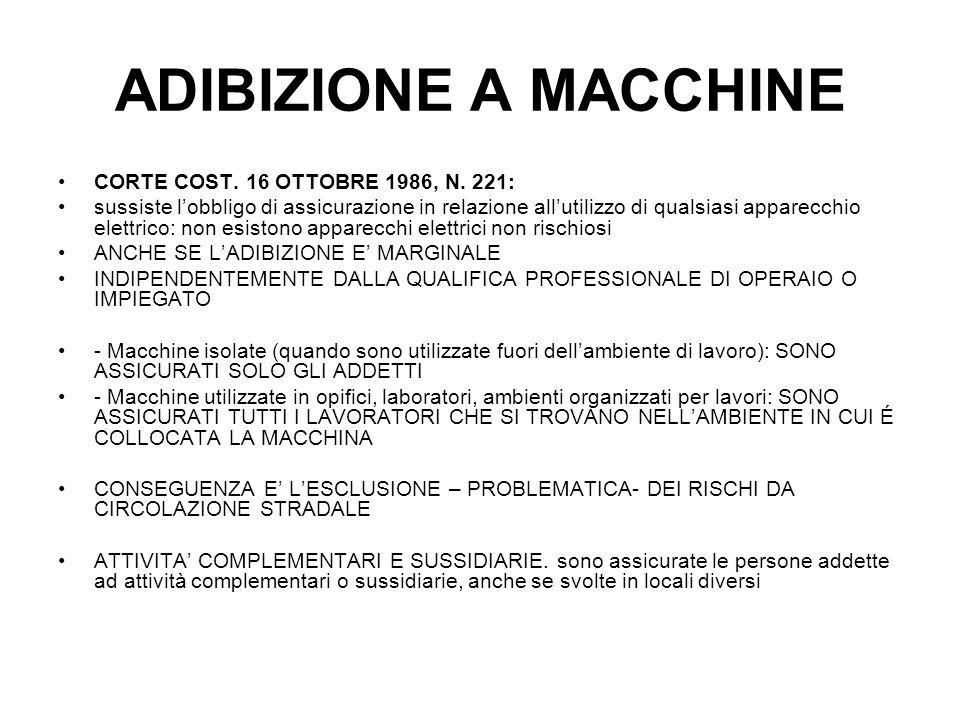 ADIBIZIONE A MACCHINE CORTE COST. 16 OTTOBRE 1986, N. 221: sussiste lobbligo di assicurazione in relazione allutilizzo di qualsiasi apparecchio elettr