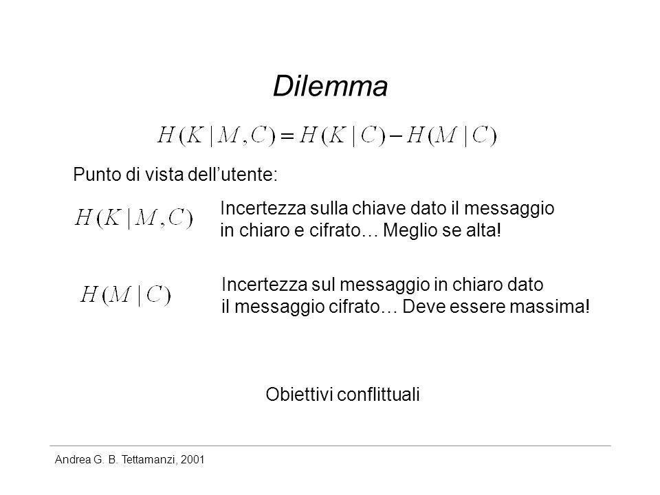 Andrea G. B. Tettamanzi, 2001 Dilemma Punto di vista dellutente: Incertezza sulla chiave dato il messaggio in chiaro e cifrato… Meglio se alta! Incert