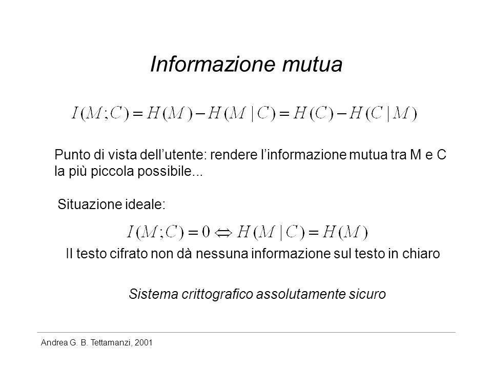 Andrea G. B. Tettamanzi, 2001 Informazione mutua Punto di vista dellutente: rendere linformazione mutua tra M e C la più piccola possibile... Situazio