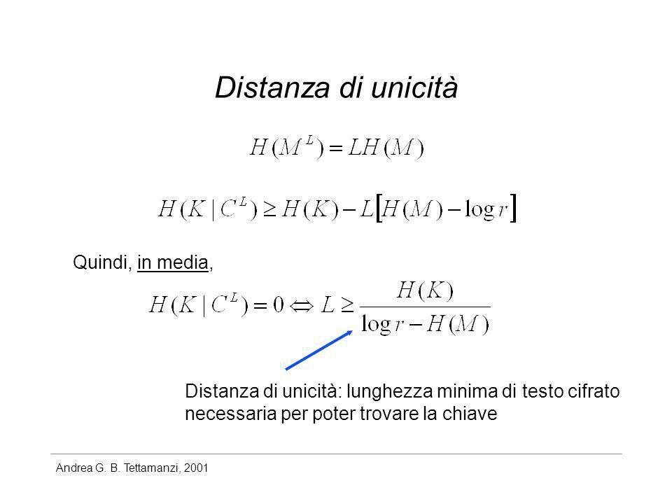 Andrea G. B. Tettamanzi, 2001 Distanza di unicità Quindi, in media, Distanza di unicità: lunghezza minima di testo cifrato necessaria per poter trovar