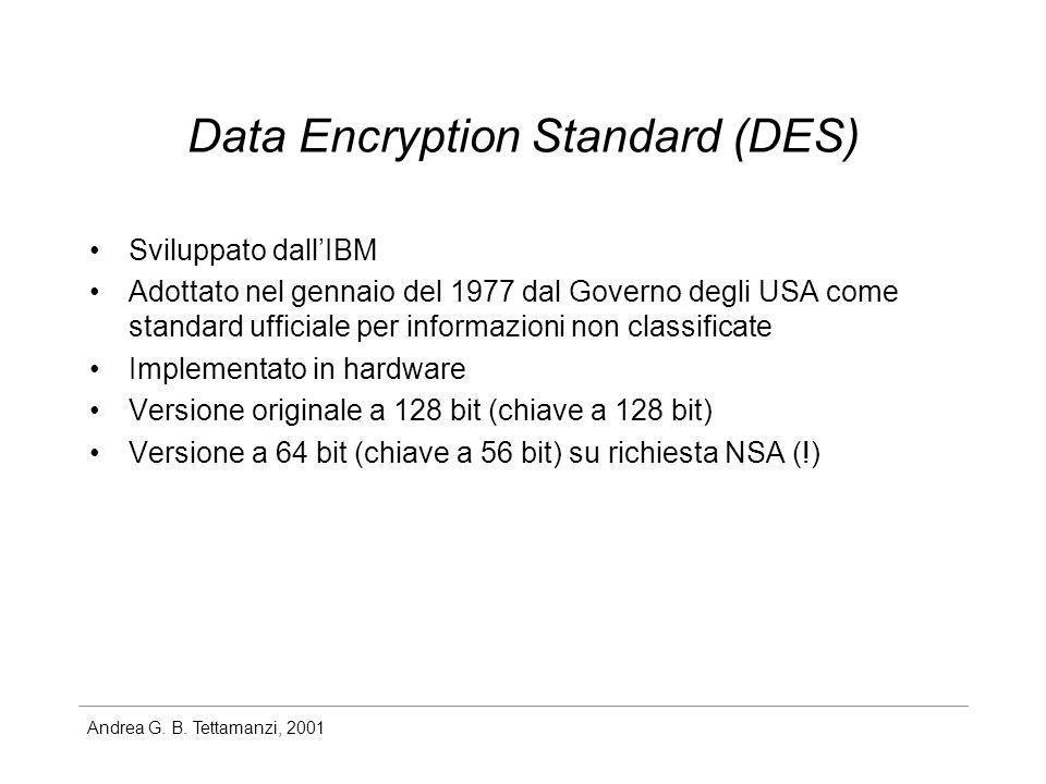 Andrea G. B. Tettamanzi, 2001 Data Encryption Standard (DES) Sviluppato dallIBM Adottato nel gennaio del 1977 dal Governo degli USA come standard uffi