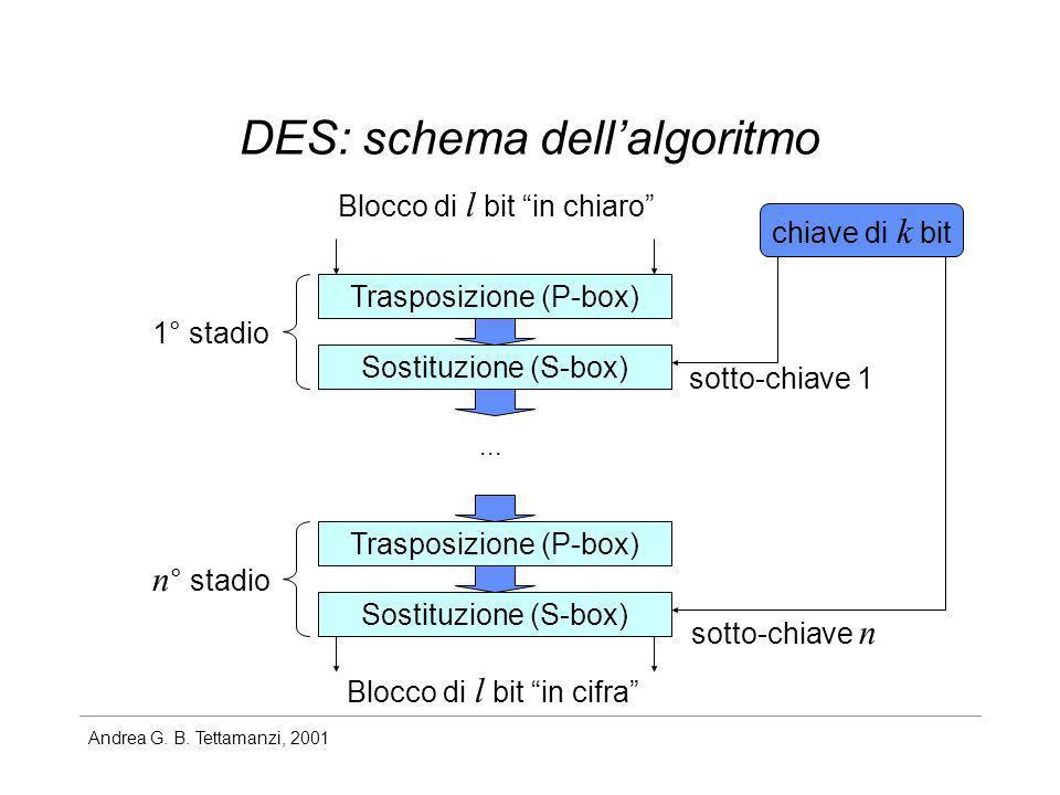 Andrea G. B. Tettamanzi, 2001 DES: schema dellalgoritmo Blocco di l bit in chiaro Blocco di l bit in cifra Trasposizione (P-box) Sostituzione (S-box)
