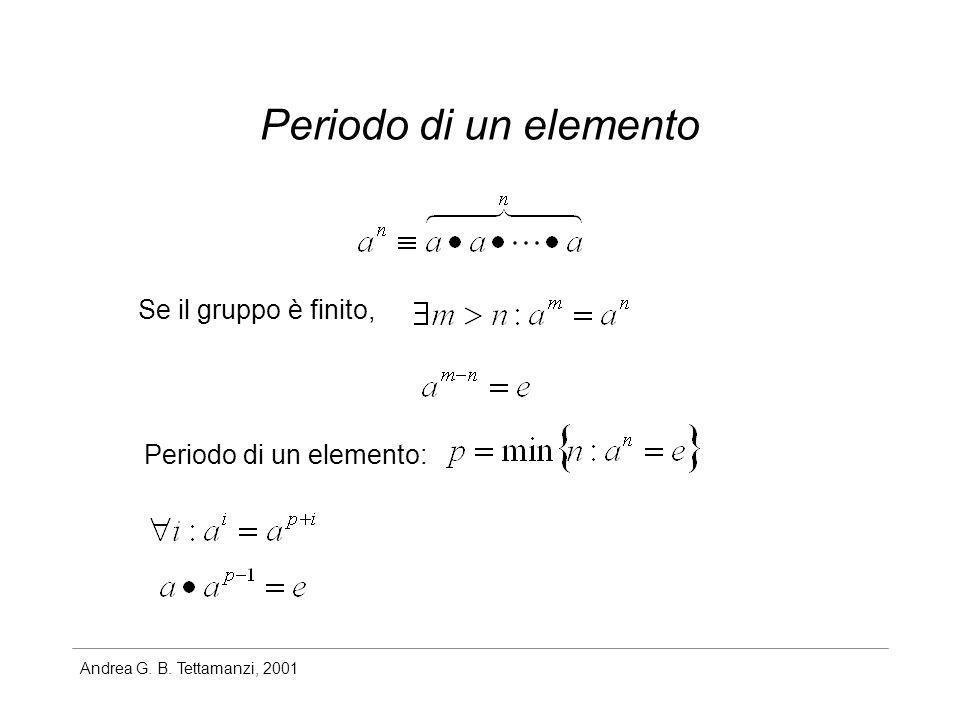 Andrea G. B. Tettamanzi, 2001 Periodo di un elemento Se il gruppo è finito, Periodo di un elemento: