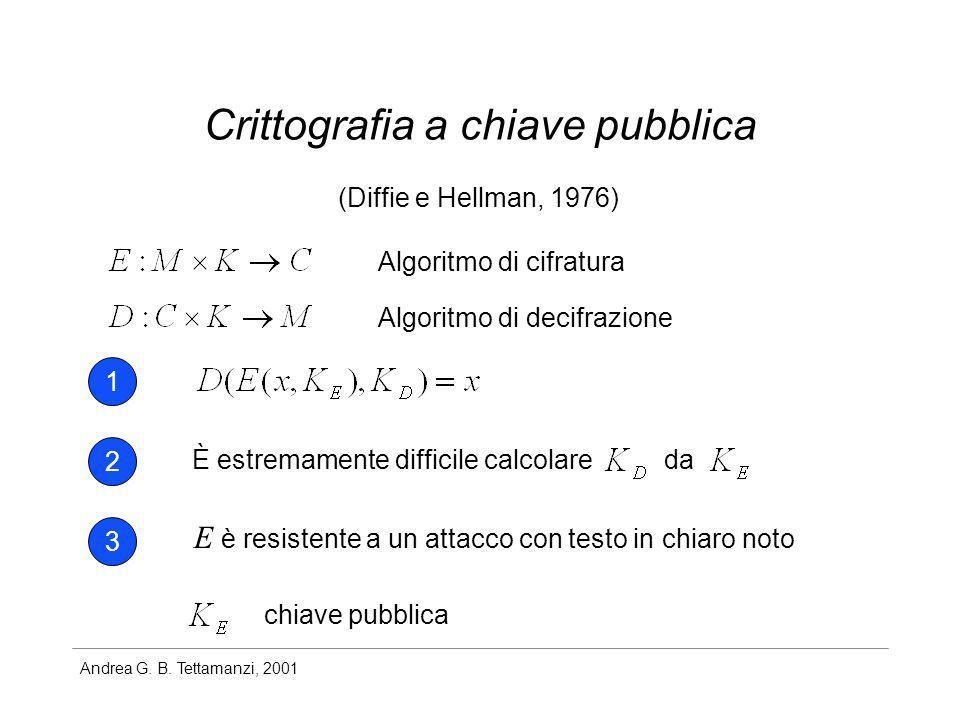 Andrea G. B. Tettamanzi, 2001 Crittografia a chiave pubblica (Diffie e Hellman, 1976) 1 2 3 È estremamente difficile calcolareda E è resistente a un a