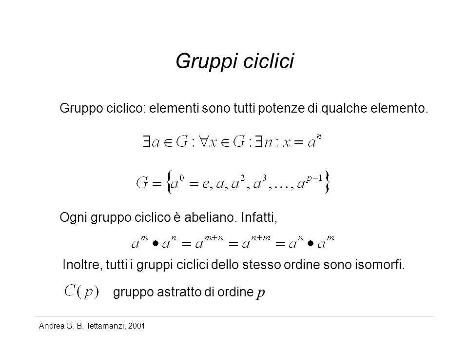 Andrea G. B. Tettamanzi, 2001 Gruppi ciclici Gruppo ciclico: elementi sono tutti potenze di qualche elemento. Ogni gruppo ciclico è abeliano. Infatti,
