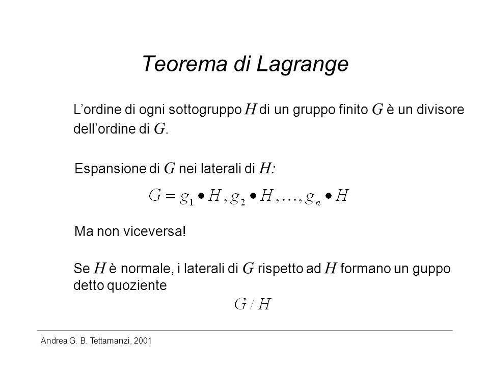 Andrea G. B. Tettamanzi, 2001 Teorema di Lagrange Lordine di ogni sottogruppo H di un gruppo finito G è un divisore dellordine di G. Ma non viceversa!