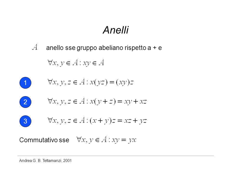 Andrea G. B. Tettamanzi, 2001 Anelli anello sse gruppo abeliano rispetto a + e 1 2 3 Commutativo sse