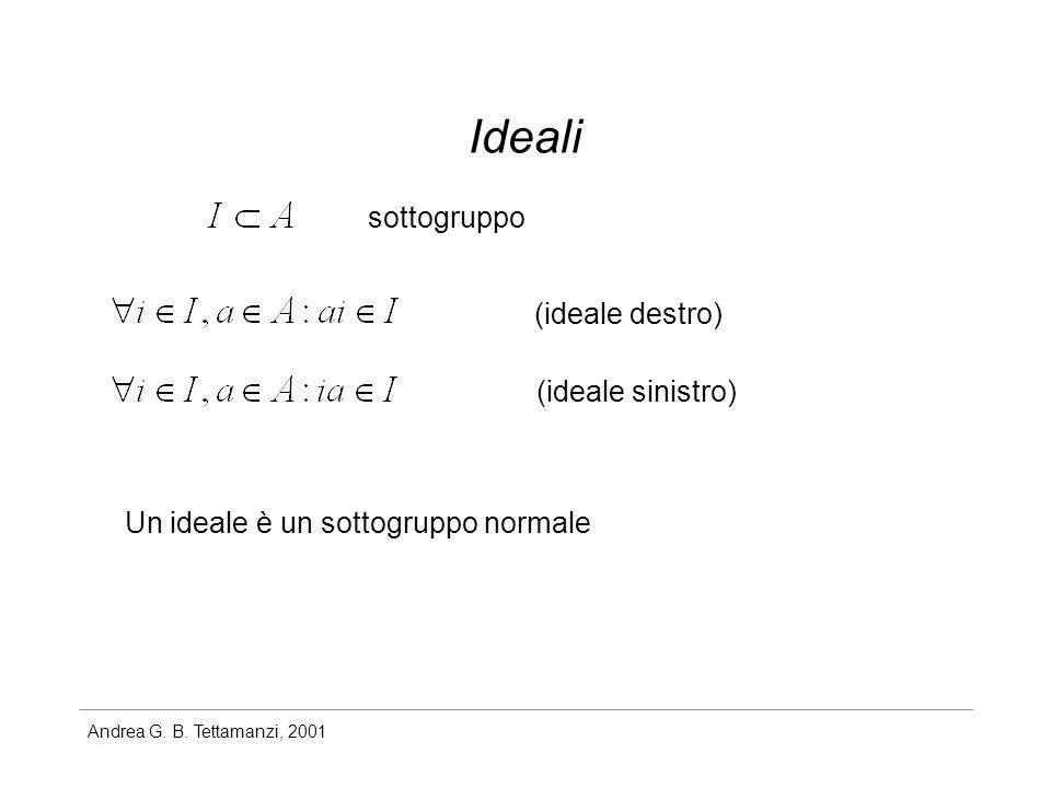Andrea G. B. Tettamanzi, 2001 Ideali sottogruppo (ideale destro) (ideale sinistro) Un ideale è un sottogruppo normale
