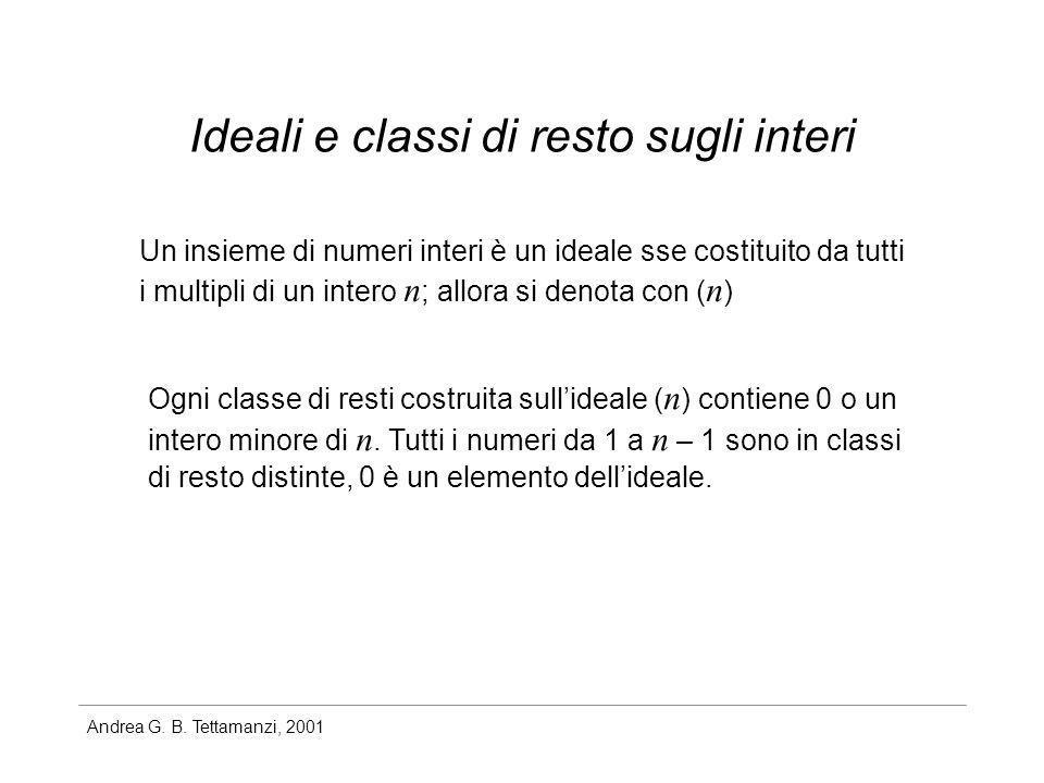 Andrea G. B. Tettamanzi, 2001 Ideali e classi di resto sugli interi Un insieme di numeri interi è un ideale sse costituito da tutti i multipli di un i