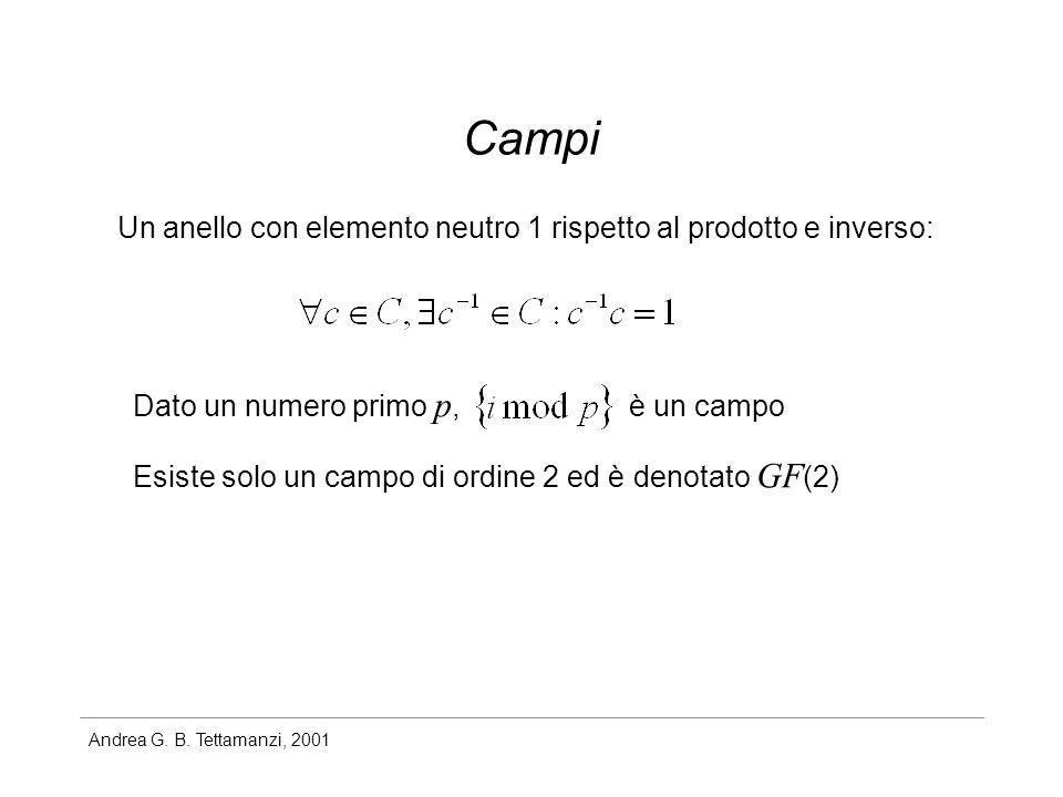 Andrea G. B. Tettamanzi, 2001 Campi Un anello con elemento neutro 1 rispetto al prodotto e inverso: Dato un numero primo p, è un campo Esiste solo un