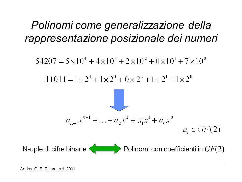 Andrea G. B. Tettamanzi, 2001 Polinomi come generalizzazione della rappresentazione posizionale dei numeri N-uple di cifre binarie Polinomi con coeffi