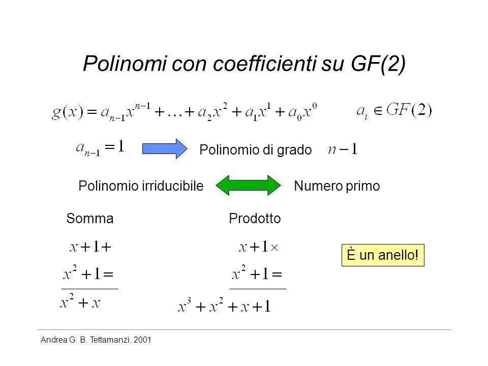 Andrea G. B. Tettamanzi, 2001 Polinomi con coefficienti su GF(2) Polinomio irriducibileNumero primo Polinomio di grado SommaProdotto È un anello!
