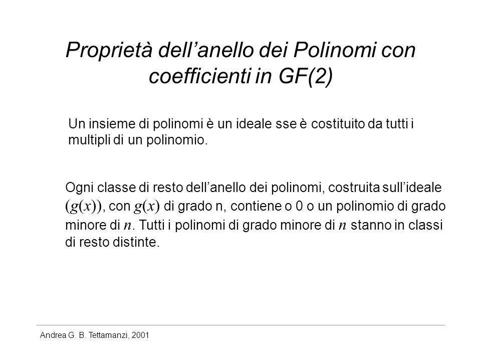 Andrea G. B. Tettamanzi, 2001 Proprietà dellanello dei Polinomi con coefficienti in GF(2) Un insieme di polinomi è un ideale sse è costituito da tutti