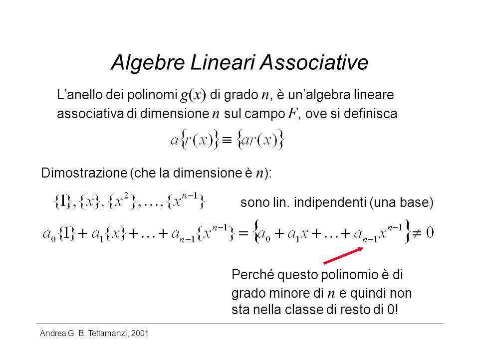 Andrea G. B. Tettamanzi, 2001 Algebre Lineari Associative Lanello dei polinomi g(x) di grado n, è unalgebra lineare associativa di dimensione n sul ca