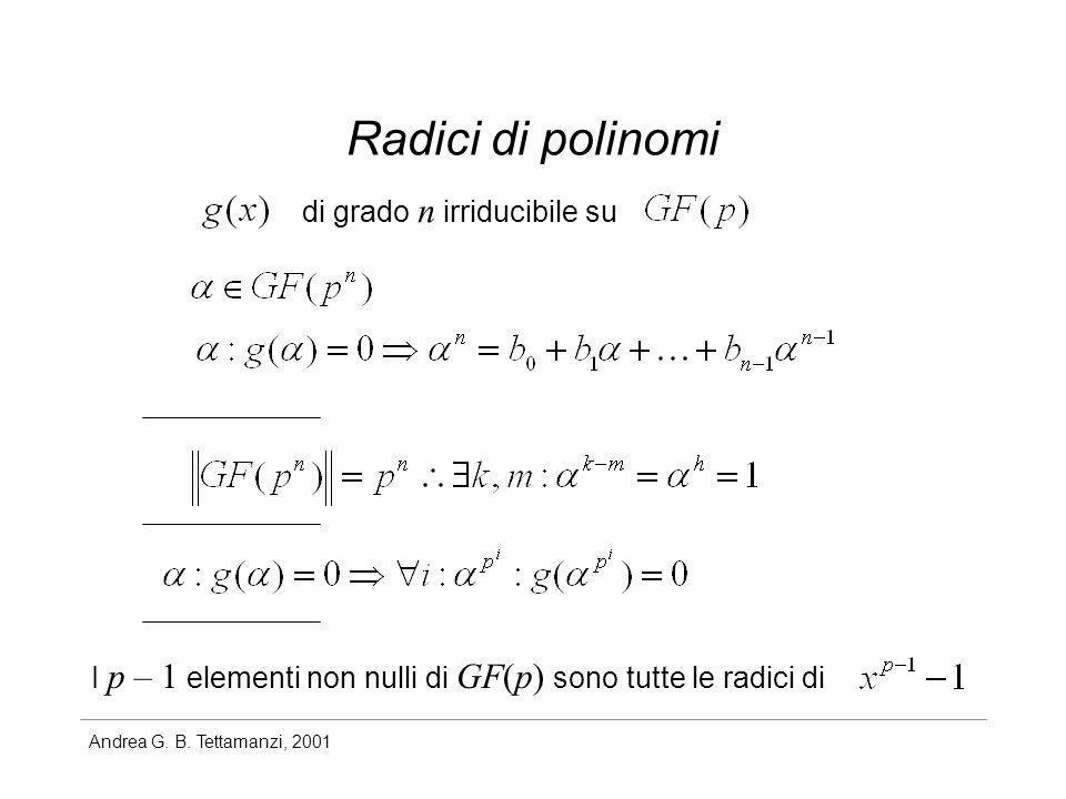 Andrea G. B. Tettamanzi, 2001 Radici di polinomi di grado n irriducibile su I p – 1 elementi non nulli di GF(p) sono tutte le radici di