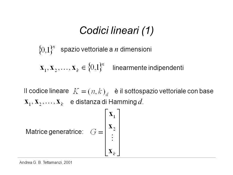 Andrea G. B. Tettamanzi, 2001 Codici lineari (1) Il codice lineare spazio vettoriale a n dimensioni linearmente indipendenti è il sottospazio vettoria
