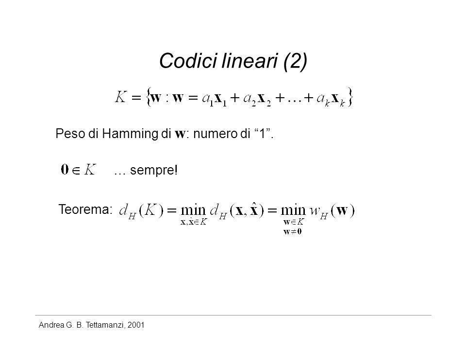 Andrea G. B. Tettamanzi, 2001 Codici lineari (2) Peso di Hamming di w : numero di 1. Teorema: … sempre!