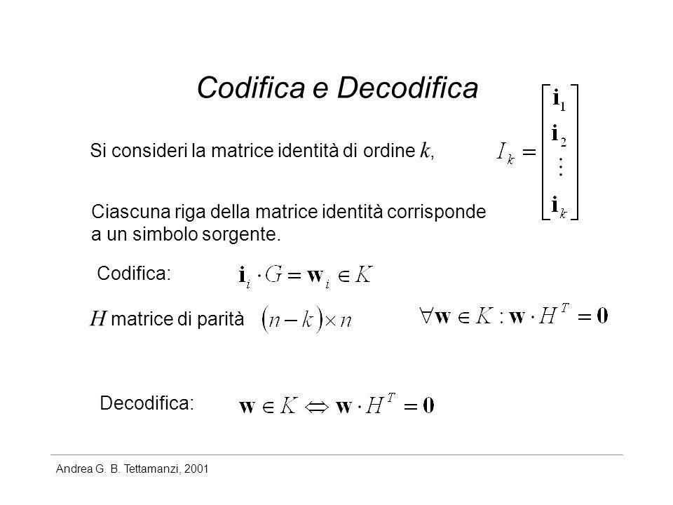 Andrea G. B. Tettamanzi, 2001 Codifica e Decodifica Si consideri la matrice identità di ordine k, Ciascuna riga della matrice identità corrisponde a u