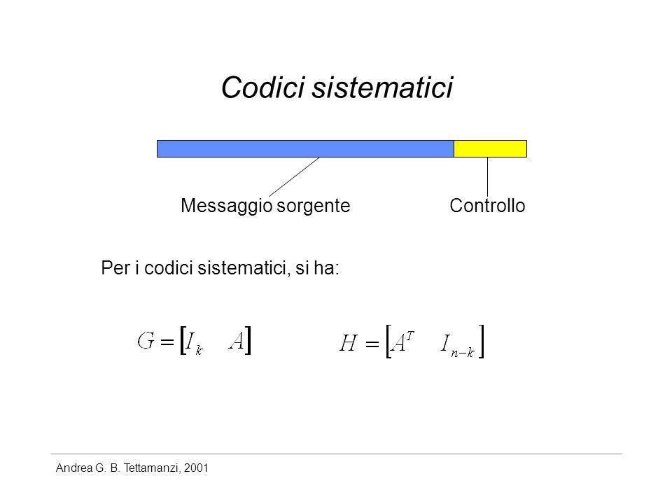 Andrea G. B. Tettamanzi, 2001 Codici sistematici Messaggio sorgenteControllo Per i codici sistematici, si ha: