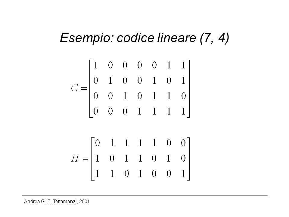 Andrea G. B. Tettamanzi, 2001 Esempio: codice lineare (7, 4)
