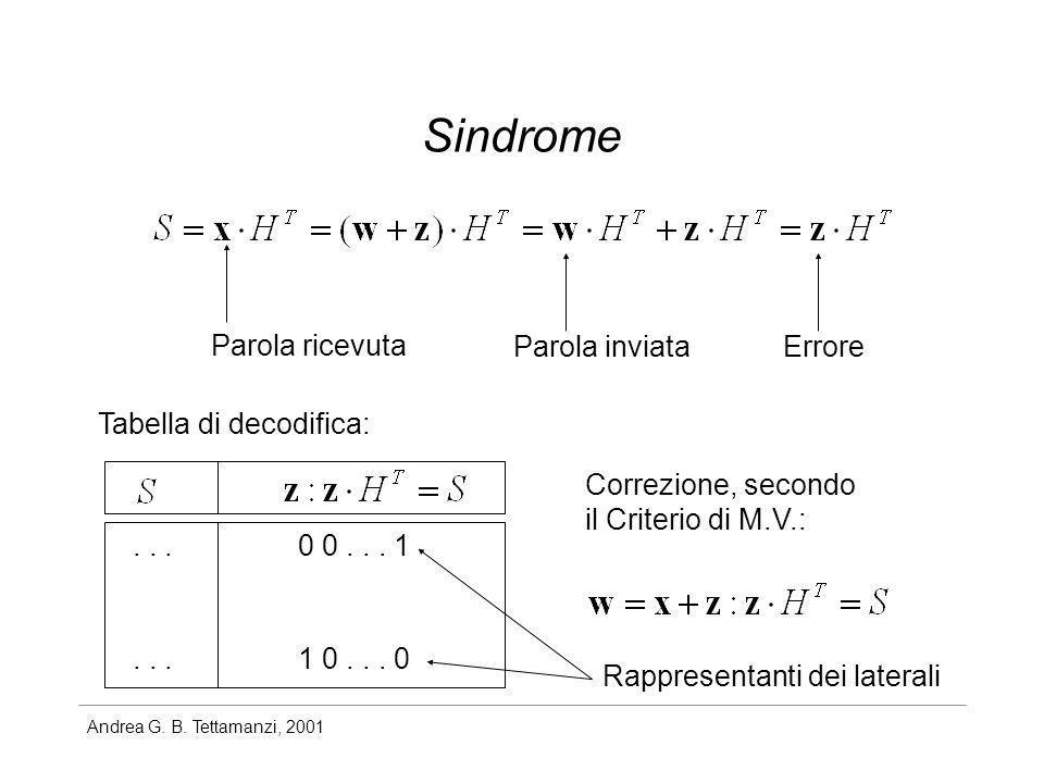 Andrea G. B. Tettamanzi, 2001 Sindrome Errore Parola ricevuta Parola inviata Tabella di decodifica: 0 0... 1 1 0... 0... Correzione, secondo il Criter