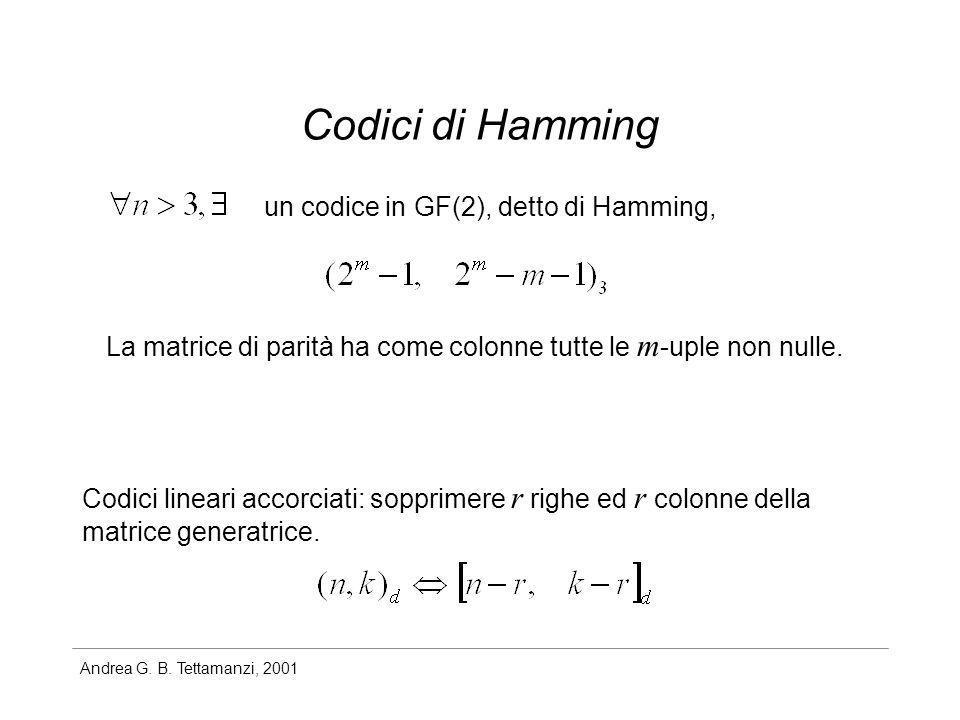 Andrea G. B. Tettamanzi, 2001 Codici di Hamming un codice in GF(2), detto di Hamming, La matrice di parità ha come colonne tutte le m -uple non nulle.
