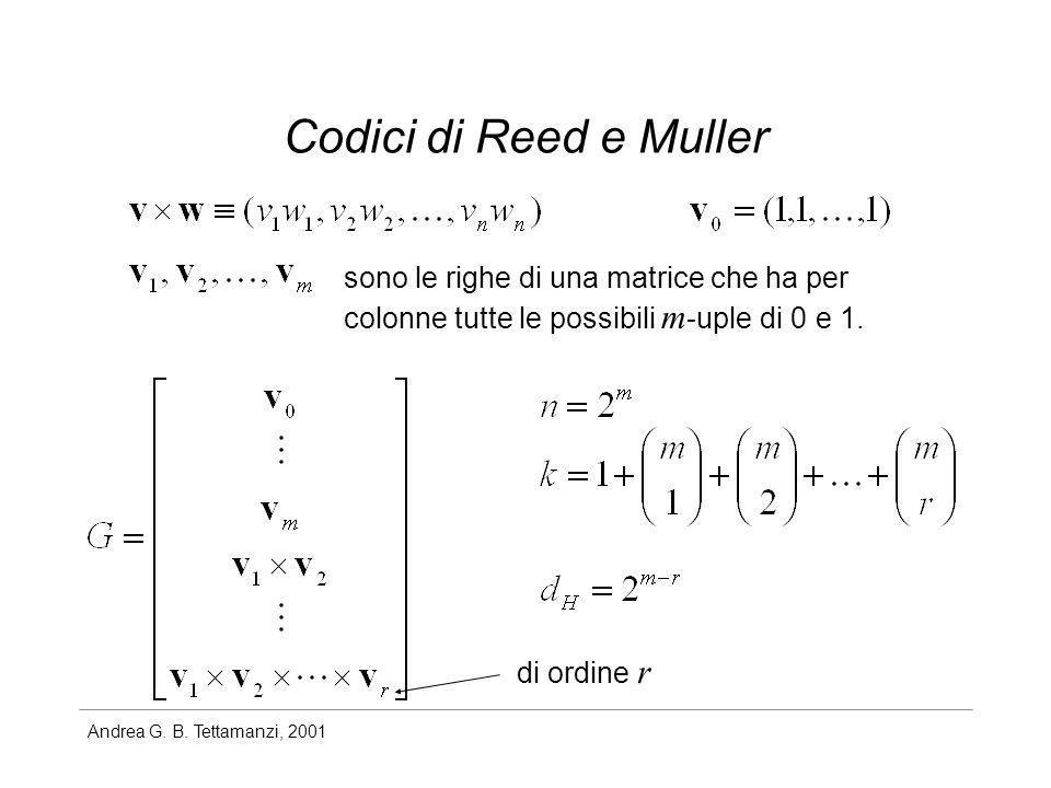 Andrea G. B. Tettamanzi, 2001 Codici di Reed e Muller sono le righe di una matrice che ha per colonne tutte le possibili m -uple di 0 e 1. di ordine r