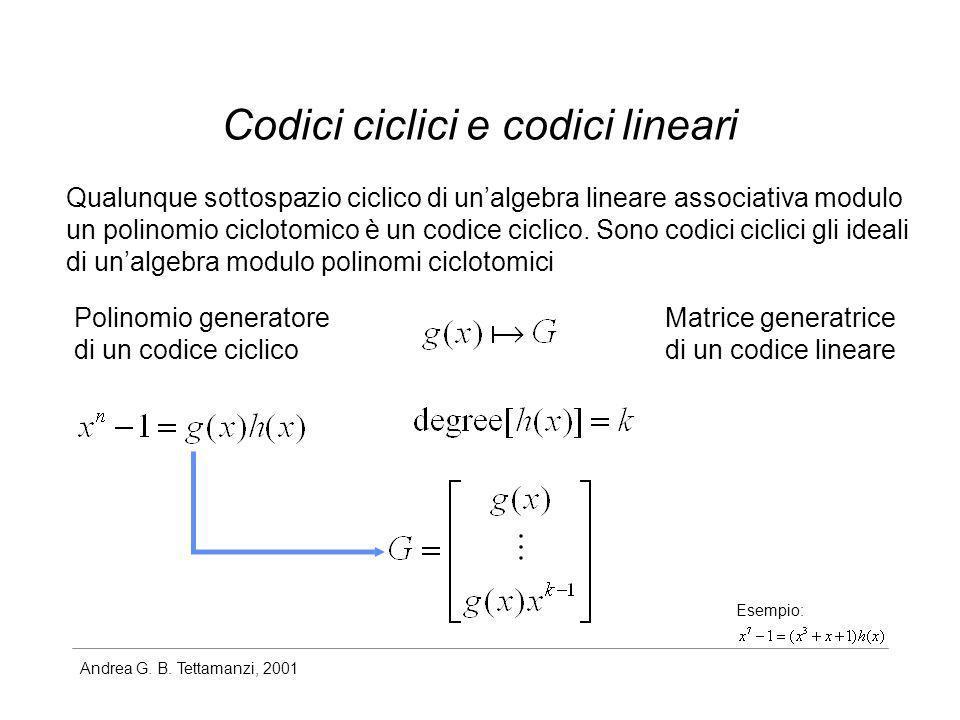 Andrea G. B. Tettamanzi, 2001 Codici ciclici e codici lineari Qualunque sottospazio ciclico di unalgebra lineare associativa modulo un polinomio ciclo