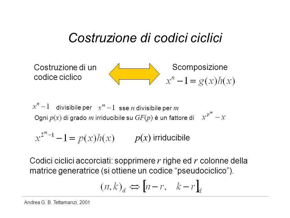 Andrea G. B. Tettamanzi, 2001 Costruzione di codici ciclici Costruzione di un codice ciclico Scomposizione divisibile per sse n divisibile per m Ogni