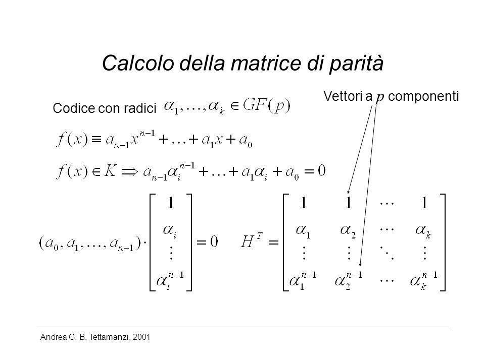 Andrea G. B. Tettamanzi, 2001 Calcolo della matrice di parità Codice con radici Vettori a p componenti