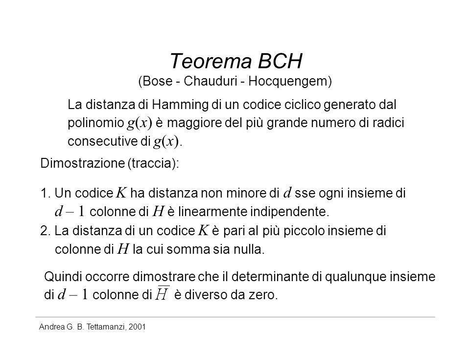Andrea G. B. Tettamanzi, 2001 Teorema BCH La distanza di Hamming di un codice ciclico generato dal polinomio g(x) è maggiore del più grande numero di