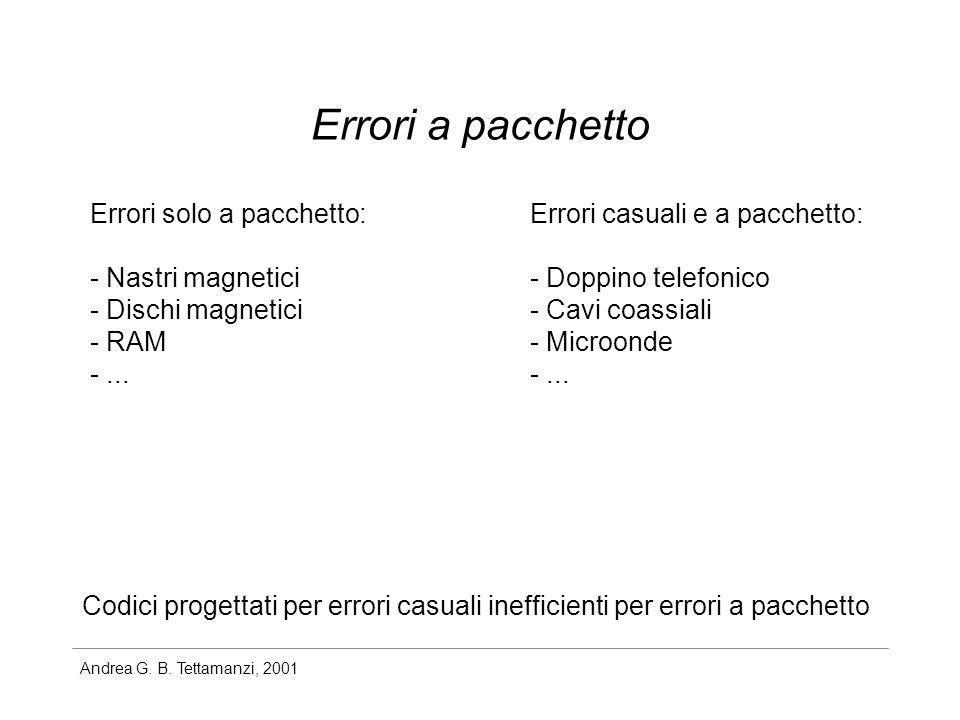 Andrea G. B. Tettamanzi, 2001 Errori a pacchetto Errori solo a pacchetto: - Nastri magnetici - Dischi magnetici - RAM -... Errori casuali e a pacchett