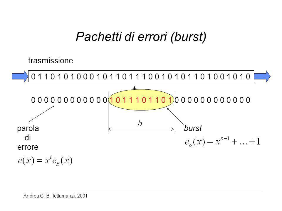 Andrea G. B. Tettamanzi, 2001 Pachetti di errori (burst) 0 1 1 0 1 0 1 0 0 0 1 0 1 1 0 1 1 1 0 0 1 0 1 0 1 1 0 1 0 0 1 0 1 0 0 0 0 0 0 0 0 0 0 0 0 0 1