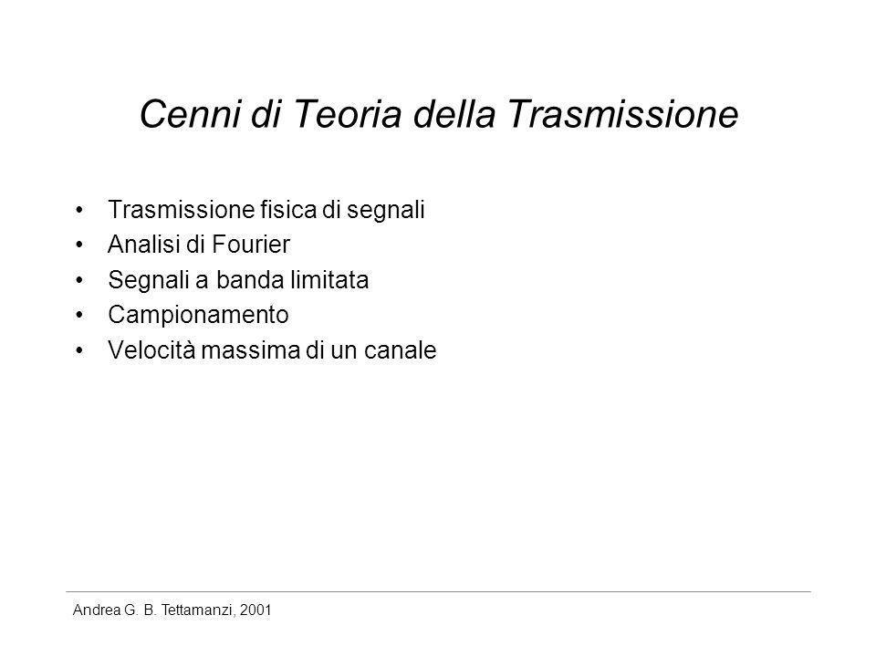 Andrea G. B. Tettamanzi, 2001 Cenni di Teoria della Trasmissione Trasmissione fisica di segnali Analisi di Fourier Segnali a banda limitata Campioname