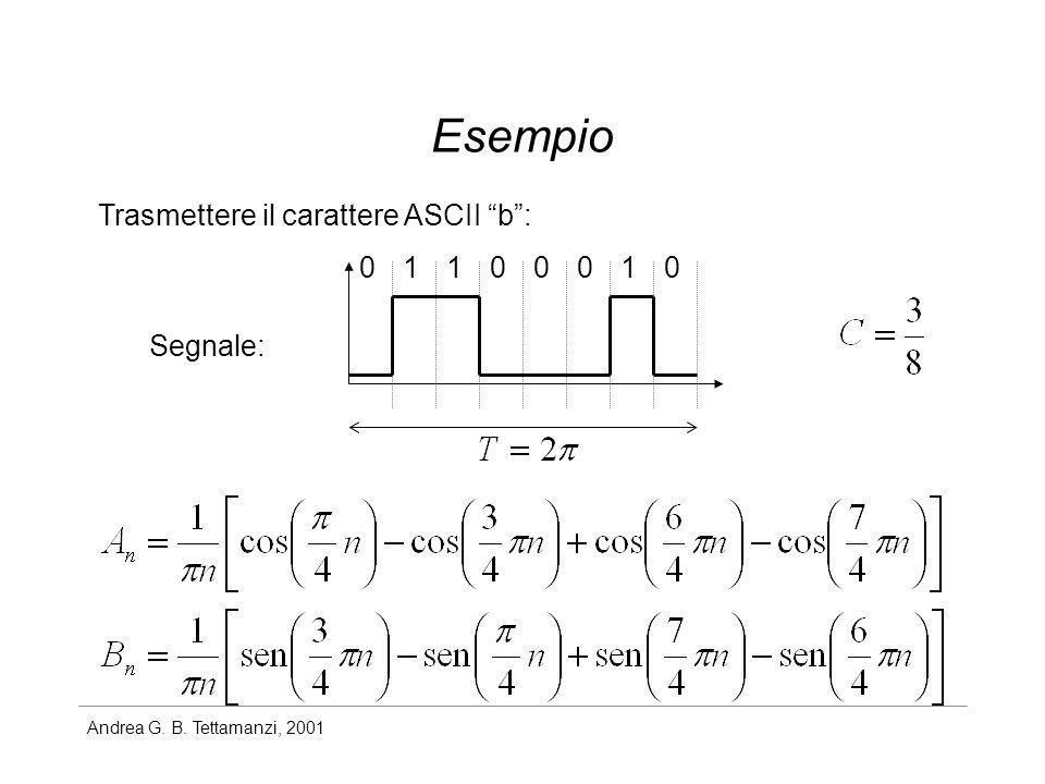 Andrea G. B. Tettamanzi, 2001 Esempio Trasmettere il carattere ASCII b: 00100011 Segnale: