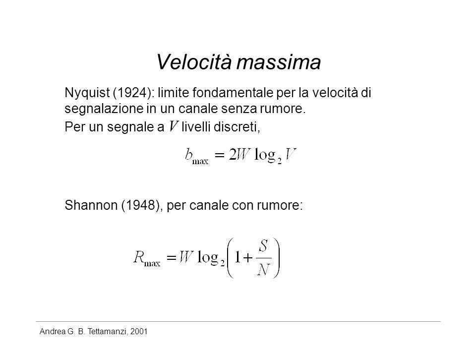 Andrea G. B. Tettamanzi, 2001 Velocità massima Nyquist (1924): limite fondamentale per la velocità di segnalazione in un canale senza rumore. Per un s