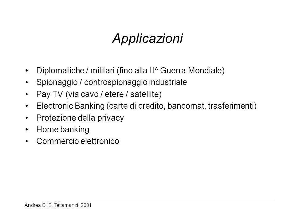 Andrea G. B. Tettamanzi, 2001 Applicazioni Diplomatiche / militari (fino alla II^ Guerra Mondiale) Spionaggio / controspionaggio industriale Pay TV (v