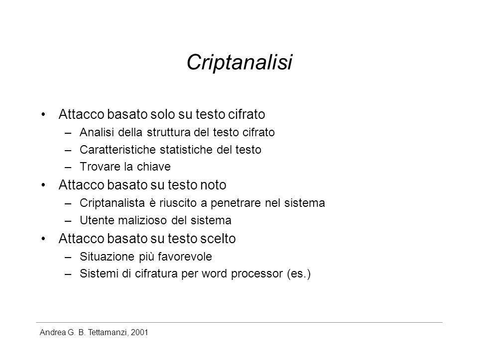 Andrea G. B. Tettamanzi, 2001 Criptanalisi Attacco basato solo su testo cifrato –Analisi della struttura del testo cifrato –Caratteristiche statistich