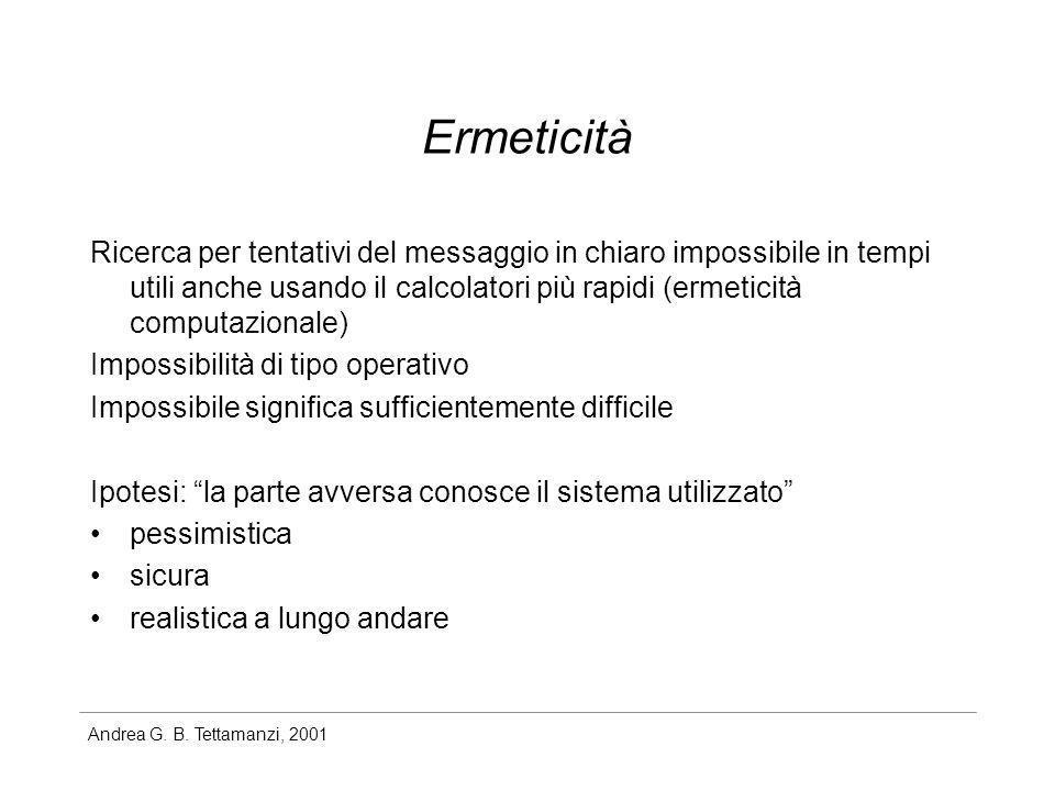 Andrea G. B. Tettamanzi, 2001 Ermeticità Ricerca per tentativi del messaggio in chiaro impossibile in tempi utili anche usando il calcolatori più rapi