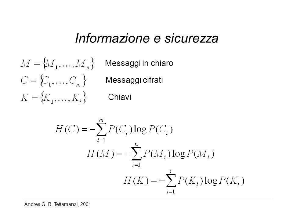 Andrea G. B. Tettamanzi, 2001 Informazione e sicurezza Messaggi in chiaro Messaggi cifrati Chiavi
