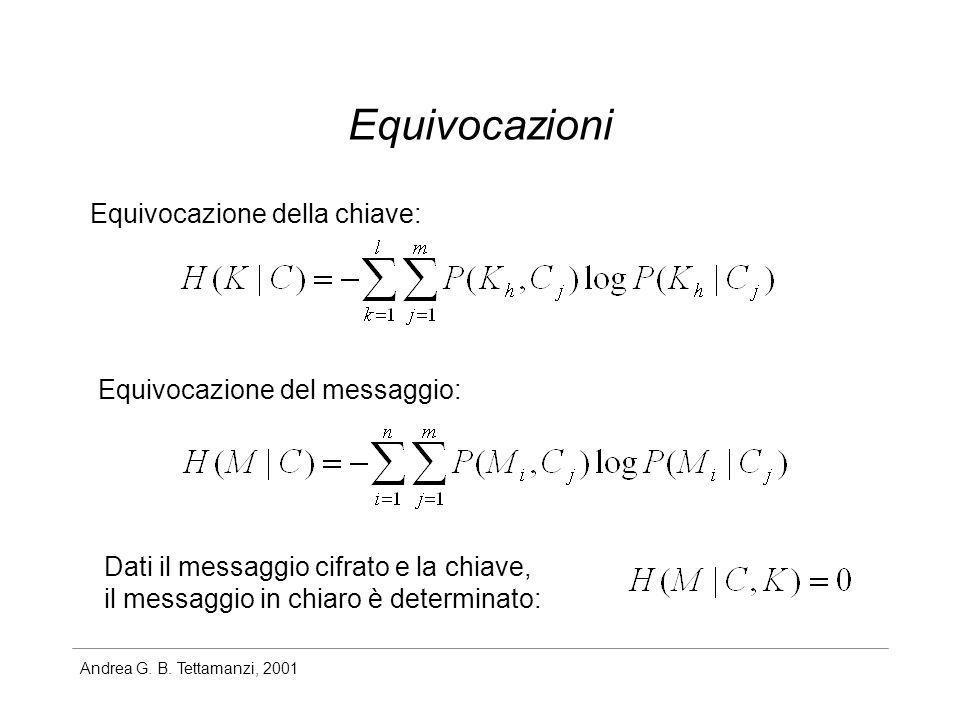 Andrea G. B. Tettamanzi, 2001 Equivocazioni Equivocazione della chiave: Equivocazione del messaggio: Dati il messaggio cifrato e la chiave, il messagg