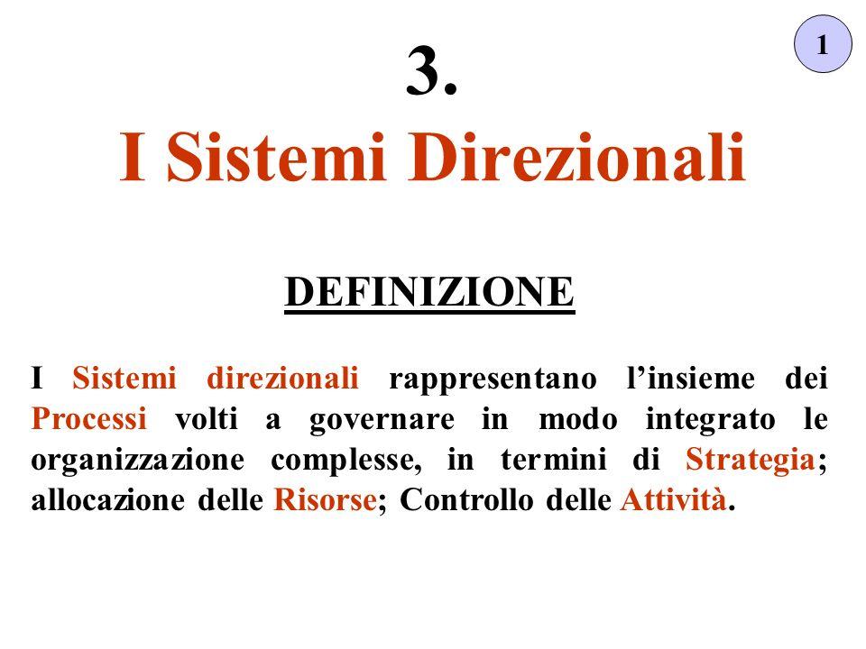 1 DEFINIZIONE I Sistemi direzionali rappresentano linsieme dei Processi volti a governare in modo integrato le organizzazione complesse, in termini di Strategia; allocazione delle Risorse; Controllo delle Attività.